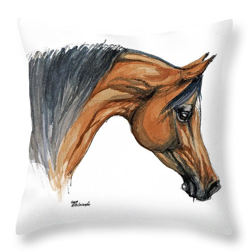 Horse Throw Pillow featuring the painting Bay Arabian Horse Watercolor Painting by Angel Ciesniarska