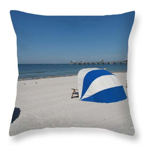 Beach Throw Pillow featuring the photograph Beach With Beachchairs by Christiane Schulze Art And Photography