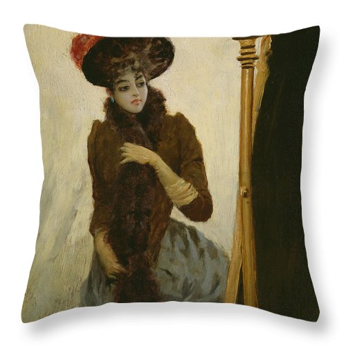 Female Throw Pillow featuring the painting Before The Swing Mirror by Emile Galle