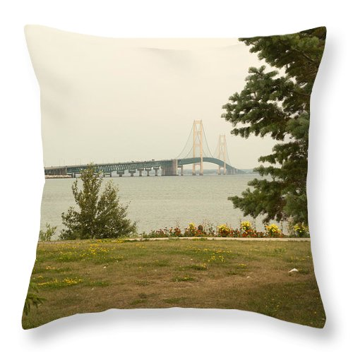 Great Lakes Throw Pillow featuring the photograph Bridge by Linda Kerkau