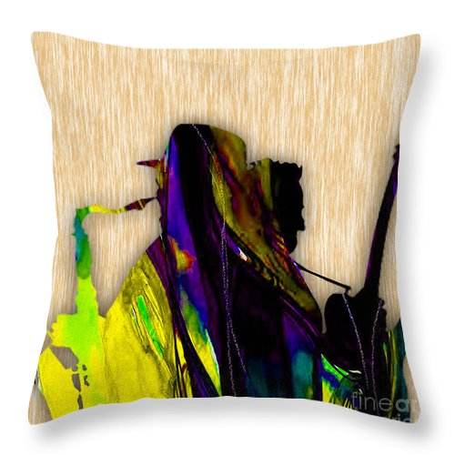 Bruce Springsteen Art Throw Pillow featuring the mixed media Bruce Springsteen and Clarence Clemons by Marvin Blaine