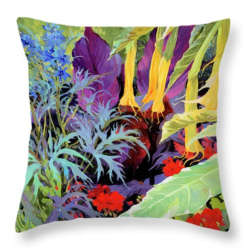Judith Barath Art Throw Pillow featuring the painting Brugmansia-1 by Judith Barath