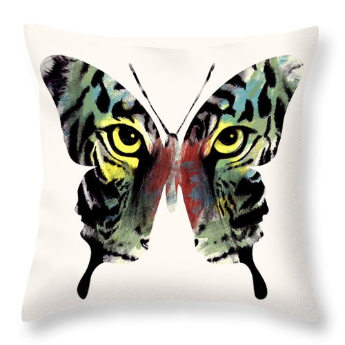 Butterfly Throw Pillow featuring the digital art Butterfly 2 by Mark Ashkenazi