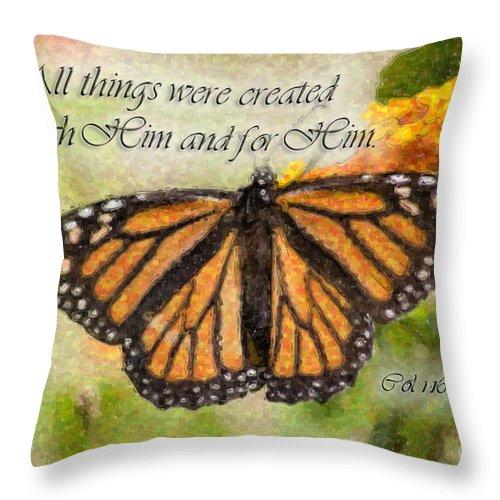 Monarch Throw Pillow featuring the digital art Butterfly Scripture by Jill Lang