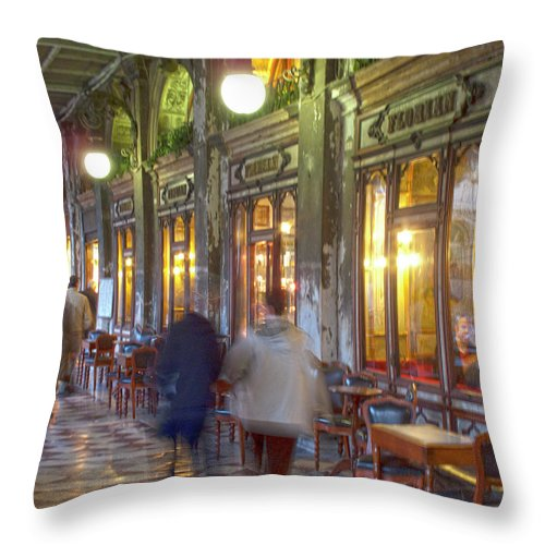 Venice Throw Pillow featuring the photograph Caffe Florian Arcade by Heiko Koehrer-Wagner