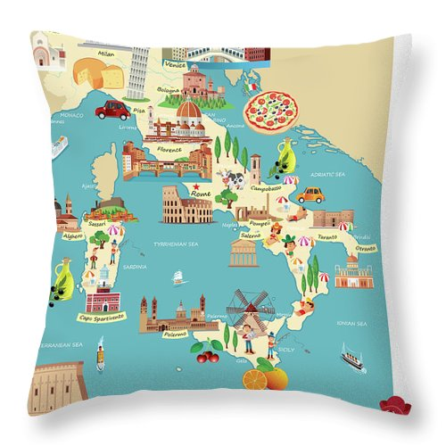 Adriatic Sea Throw Pillow featuring the digital art Cartoon Map Of Italy by Drmakkoy