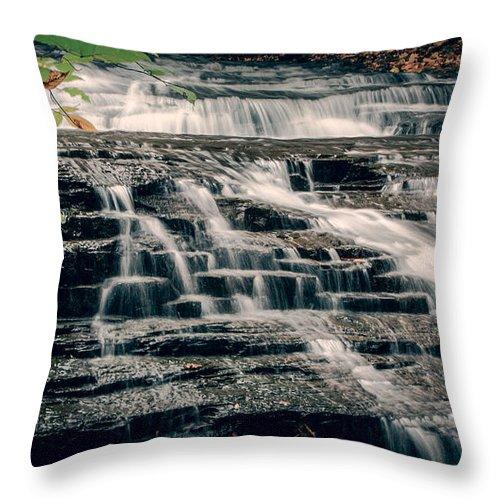 Cascadilla Throw Pillow featuring the photograph Cascadilla Gorge by Brad Marzolf Photography