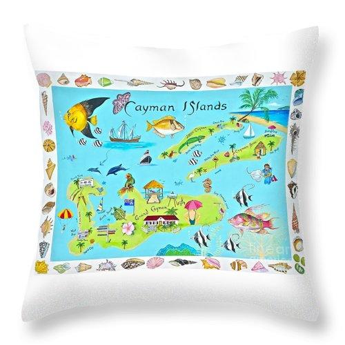 Cayman Islands Throw Pillow featuring the painting Cayman Islands by Virginia Ann Hemingson