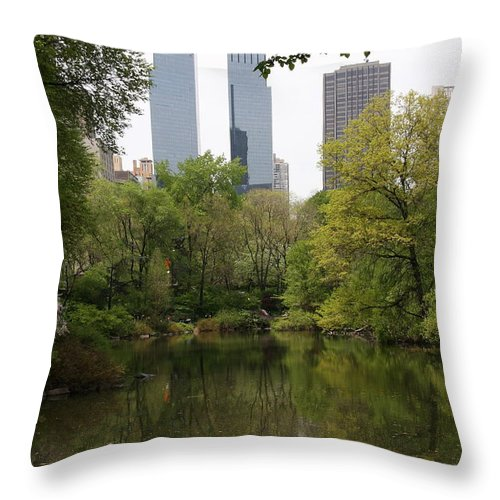 Central Park Throw Pillow featuring the photograph Central Park Pond by Christiane Schulze Art And Photography