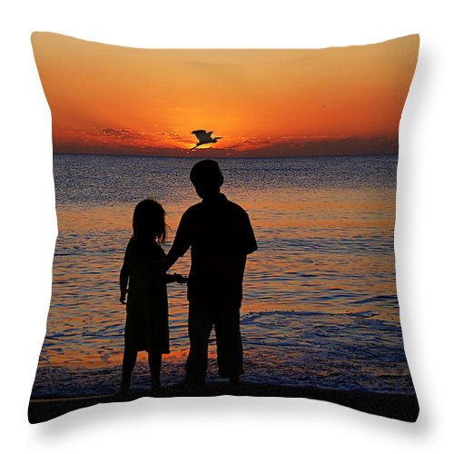 Sunset Throw Pillow featuring the photograph Cherish The Moment by John Absher