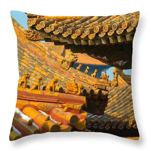 China Throw Pillow featuring the photograph China Forbidden City Roof Decoration by Sebastian Musial