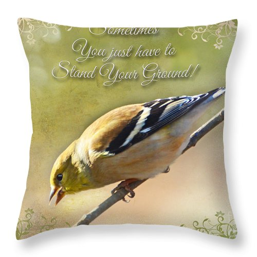 Bird Throw Pillow featuring the photograph Chirping Gold Finch by Debbie Portwood
