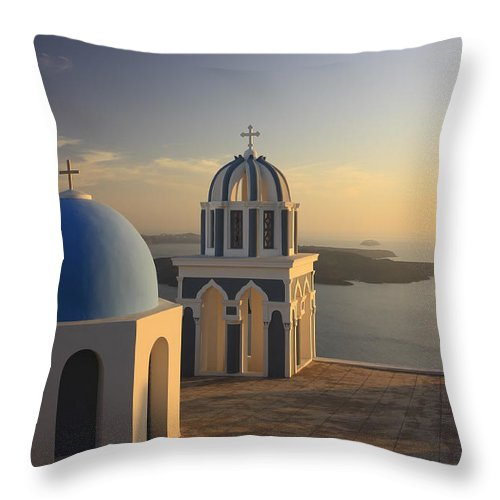 Aegean Throw Pillow featuring the photograph Churches At Sunset Firostefani Santorini Cyclades Greece by Ivan Pendjakov