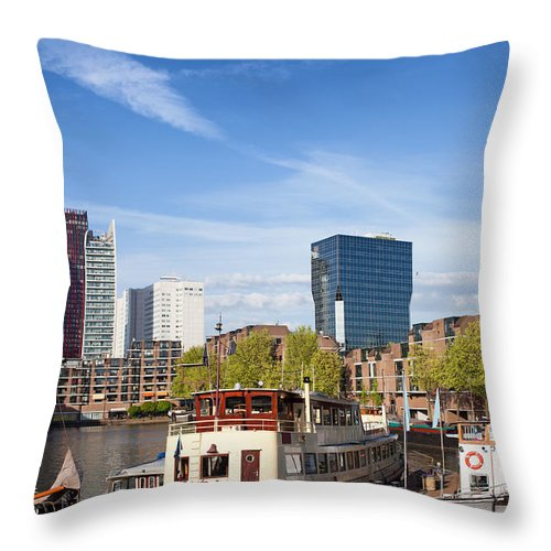 Rotterdam Throw Pillow featuring the photograph City Of Rotterdam In Netherlands by Artur Bogacki