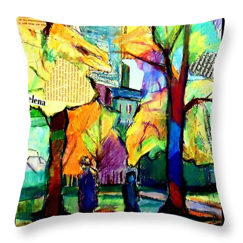 Cityscape Throw Pillow featuring the painting Cityscape by Helena Wierzbicki