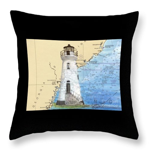 Cockspur Throw Pillow featuring the painting Cockspur Island Lighthouse Ga Nautical Chart Map Art Cathy Peek by Cathy Peek
