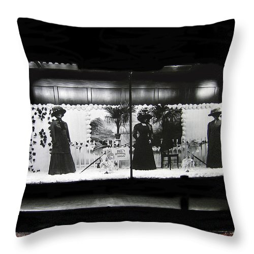 Collage Steinfeld's Department Store Window 1908 Tucson Arizona 2008 Throw Pillow featuring the photograph Collage Steinfeld's Department Store Window 1908 Tucson Arizona 2008 by David Lee Guss