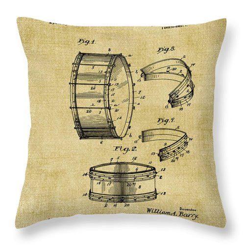 Collapsible Throw Pillow featuring the digital art Collapsible Drum Patent 008 by Voros Edit