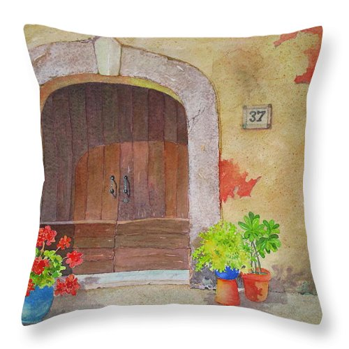 Tuscany Throw Pillow featuring the painting Color Me Tuscany by Mary Ellen Mueller Legault