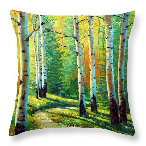 Landscape Throw Pillow featuring the painting Colors Of The Season by David G Paul