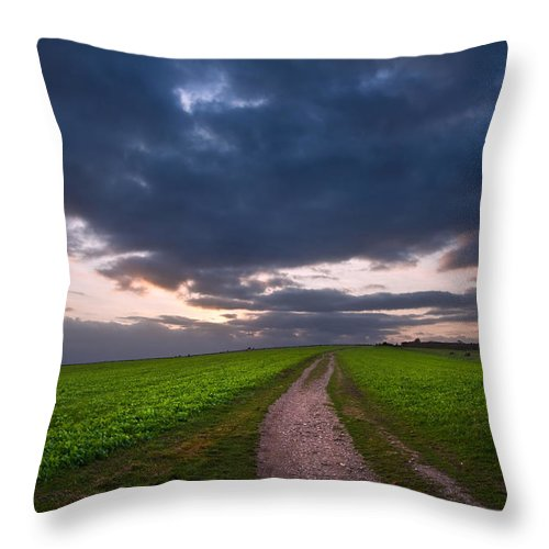 Landscape Throw Pillow featuring the photograph Countryside Landscape Path Leading Through Fields Towards Dramat by Matthew Gibson
