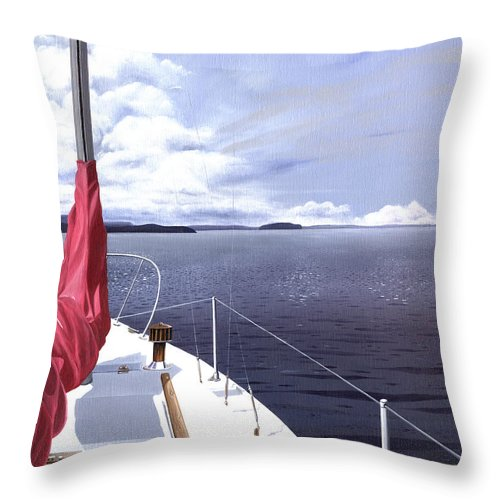 Sailing Throw Pillow featuring the painting Cruising North by Gary Giacomelli
