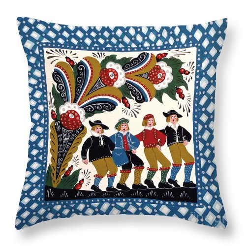 Dala Throw Pillow featuring the painting Dancing Men by Leif Sodergren