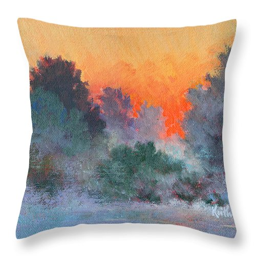Impressionism Throw Pillow featuring the painting Dawn Mist by Keith Burgess
