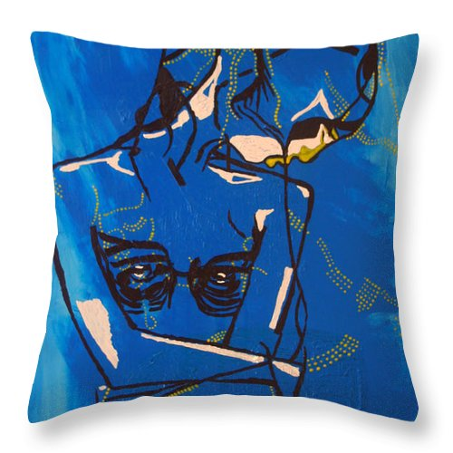 Jesus Throw Pillow featuring the painting Dinka Painted Lady - South Sudan by Gloria Ssali