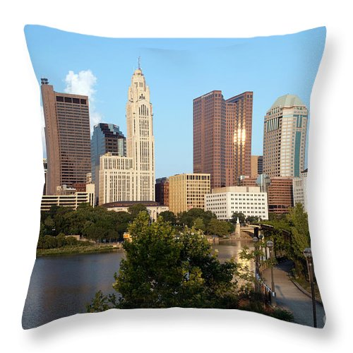Columbus Throw Pillow featuring the photograph Downtown Skyline Of Columbus by Bill Cobb