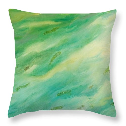 Green Throw Pillow featuring the painting Flow by Alexandra Vaczi
