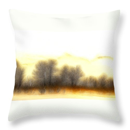 Morning Fog Mist Misty Tree Trees Mountain Nature Abstract Expressionism Landscape Painting Throw Pillow featuring the painting Early In The Morning by Steve K