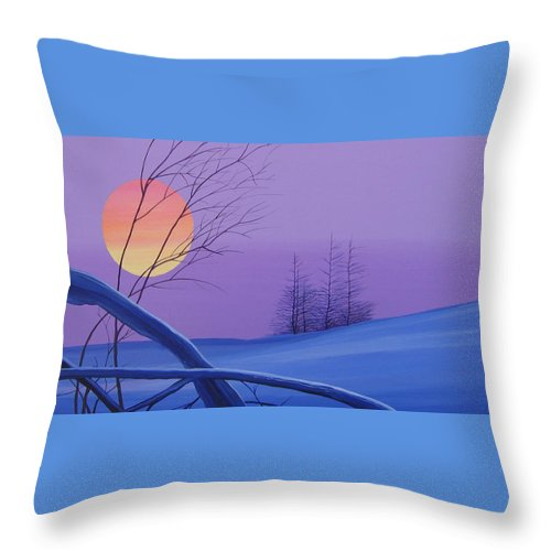Mountains Throw Pillow featuring the painting Silent Snow by Hunter Jay