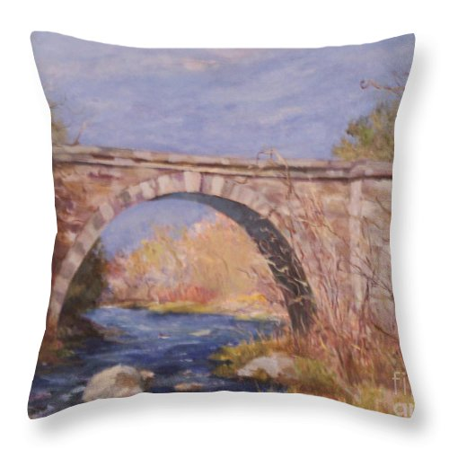 Rail Road Throw Pillow featuring the painting Early Spring At The Trestle by Alicia Drakiotes