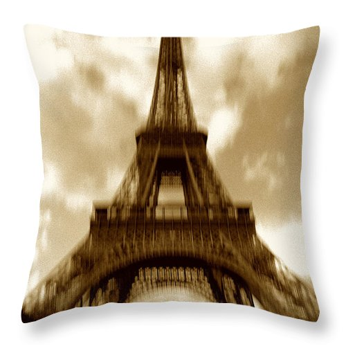 Eiffel Throw Pillow featuring the photograph Eiffel Tower by Tony Cordoza