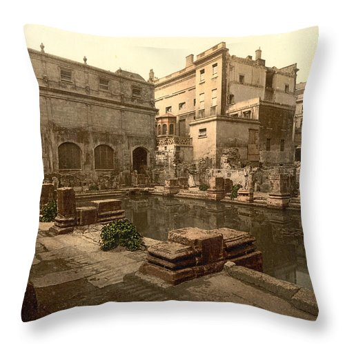 1890 Throw Pillow featuring the painting England Roman Baths by Granger