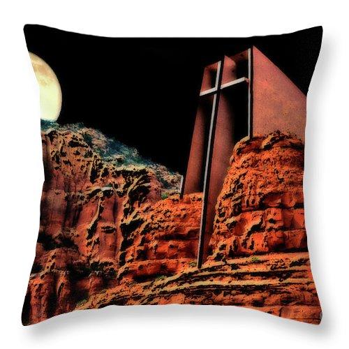 Church Throw Pillow featuring the photograph Evening Worship by Barbara D Richards