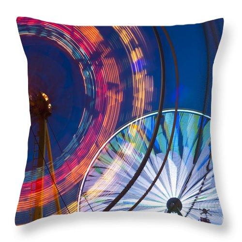 Americana Throw Pillow featuring the photograph Evergreen State Fair Ferris Wheel by Jim Corwin