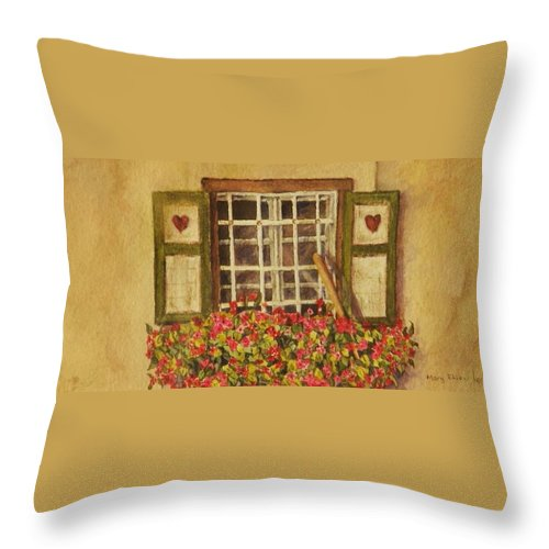 Rural Throw Pillow featuring the painting Farm Window by Mary Ellen Mueller Legault