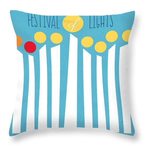 Menorah Throw Pillow featuring the mixed media Festival Of Lights by Linda Woods