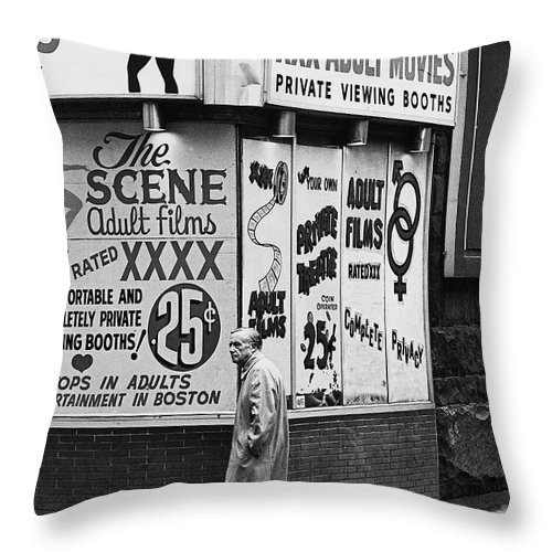 Film Homage Hard Core 1979 Porn Theater The Combat Zone Boston Massachusetts 1977 Throw Pillow featuring the photograph Film Homage Hard Core 1979 Porn Theater The Combat Zone Boston Massachusetts 1977 by David Lee Guss
