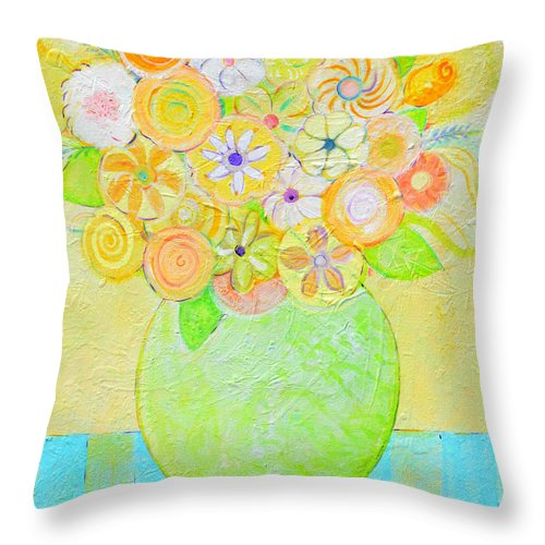 Floral Throw Pillow featuring the painting Flowers In Heaven by Christine Belt