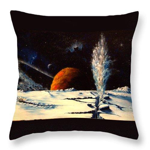 Landscape. Geyser Throw Pillow featuring the painting Frozen Geyser by Murphy Elliott