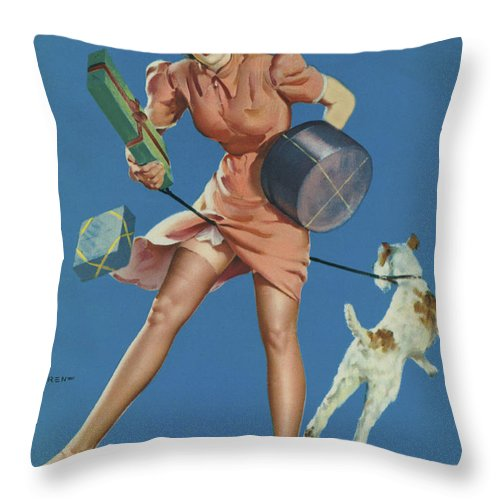 Caucasian Ethnicity Throw Pillow featuring the photograph Gil Elvgren's Pin-up Girl by Underwood Archives