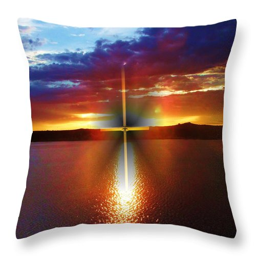 Cross Throw Pillow featuring the digital art Glory In The Cross by Jewell McChesney