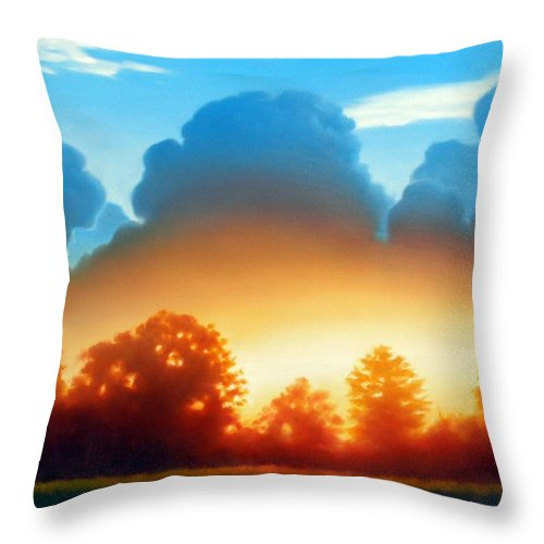 Sunset Throw Pillow featuring the painting Glowing by Kevin Lawrence Leveque