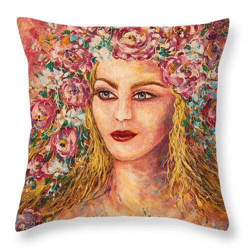 Goddess Throw Pillow featuring the painting Good Fortune Goddess by Natalie Holland