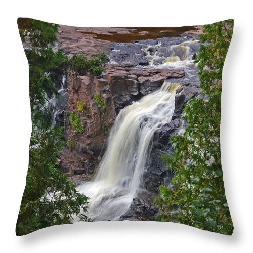 Gooseberry Falls Throw Pillow featuring the photograph Gooseberry Falls by Stephanie Hanson