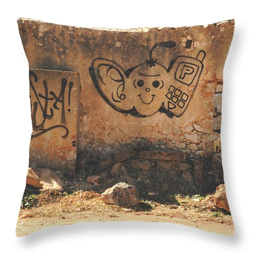 Abstract Photos Throw Pillow featuring the photograph Graffiti by Dave Byrne