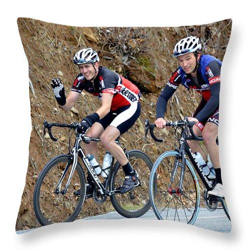 Sport Throw Pillow featuring the photograph Gran Fondo Bike Ride by Susan Leggett